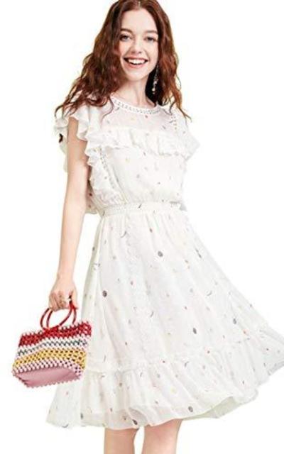 Artka Ruffle Collar Floral Chiffon Dress