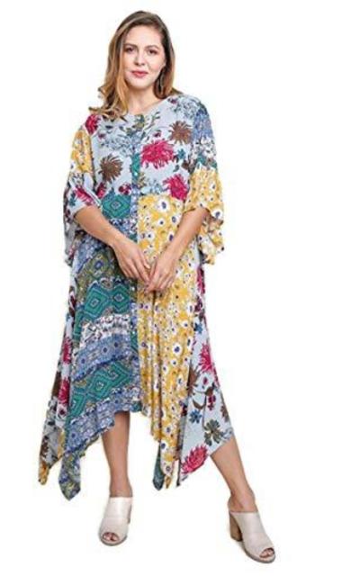 Umgee Floral Mixed Print Bell Sleeve Maxi Dress