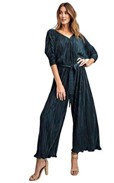THFB Holiday Half Sleeve Pleated Satin Jumpsuit