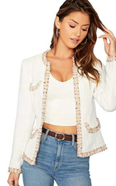 MAKEMECHIC Frayed Trim Tweed Jacket