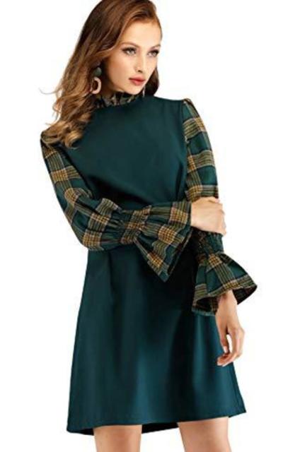 SOLY HUX Contrast Plaid Flounce Mini Dress