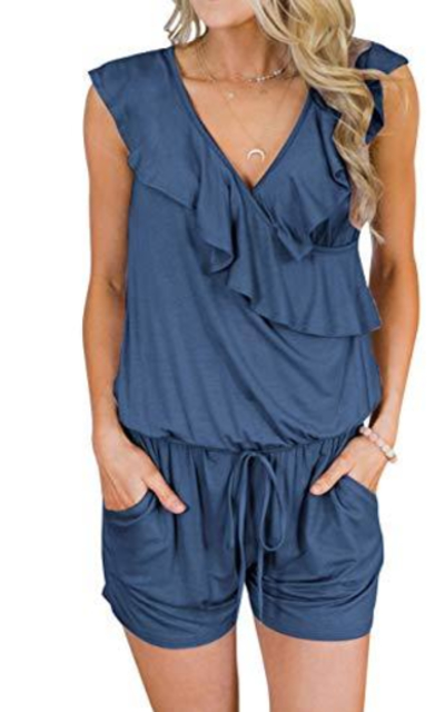 TECREW Ruffle Rompers with Pockets