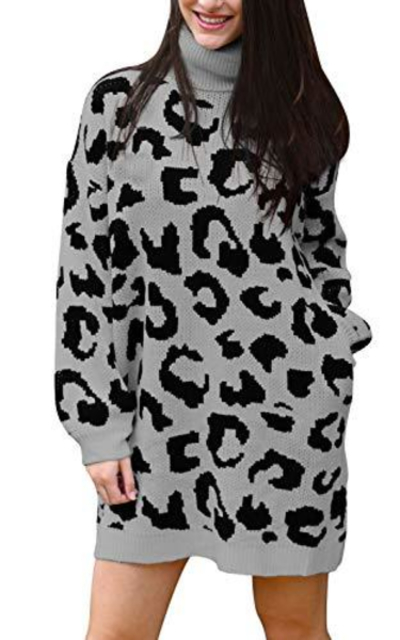 Pink Queen Leopard Printed Oversize Long Pullover Sweater