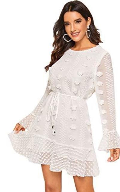 SOLY HUX Flounce Sleeve Ruffle Hem Dress
