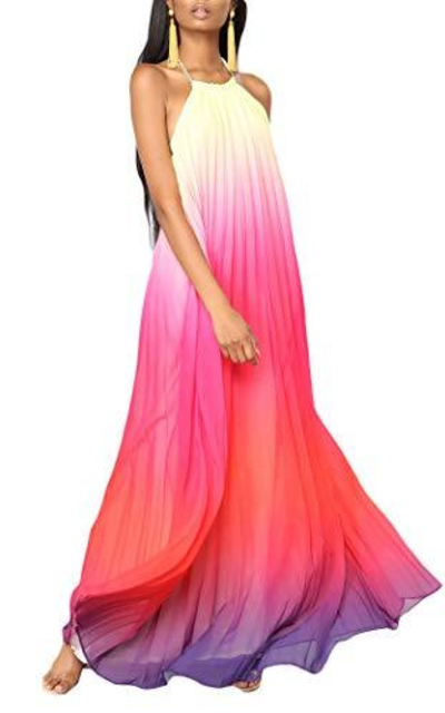 Bohemian Pleated Long Dress