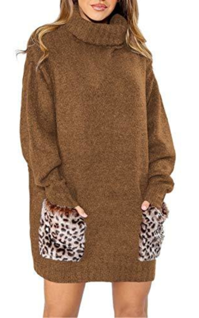 Viottiset  Pullover Sweater Dress with Leopard Pocket