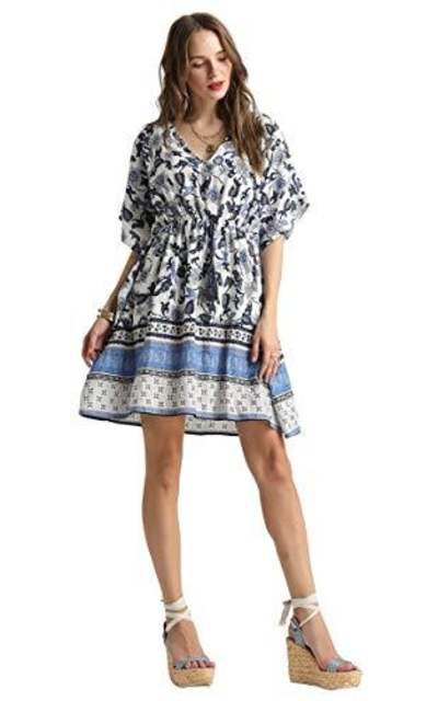 SONJA BETRO Printed Border Boho Dress