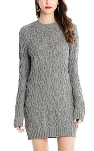 FEOYA Crew Neck Knitted Sweater Dress