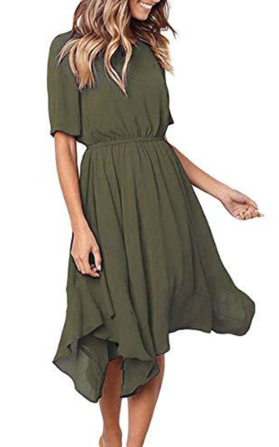 Alaster Queen Chiffon Short Sleeve Midi Dress
