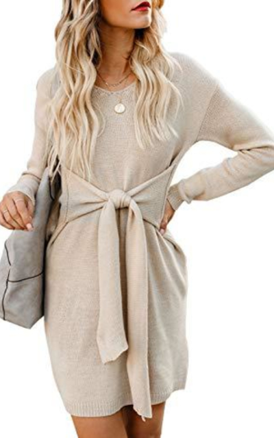 Acelitt Tie Waist Knitted Sweater Dress