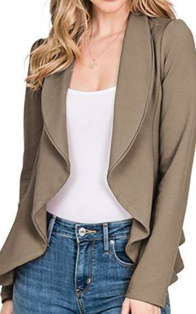 CLOVERY Open Front Cardigan Jacket