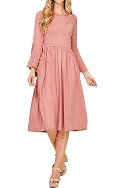 iconic luxe Fit and Flare Dress With Dramatic Bell Sleeve