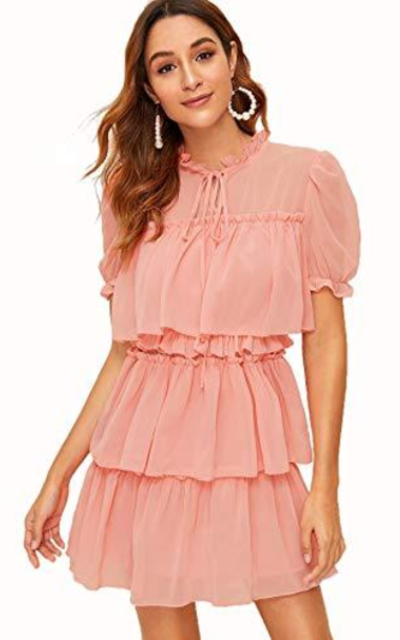 ROMWE Short Sleeve Tie Neck Ruffle Trim Mini Dress