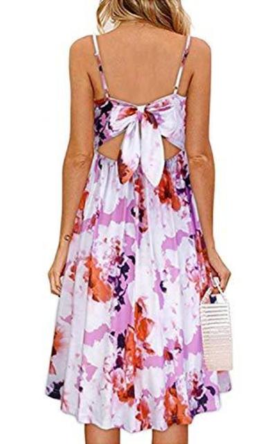 OUGES Tie Back Floral Dress