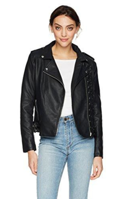 Members Only Vegan Leather Laced Biker Jacket