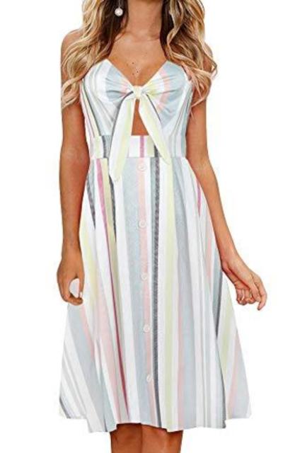 FANCYINN Tie Front Midi Dress