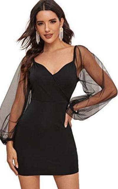 SweatyRocks Wrap V Neck Sheer Mesh Mini Dress