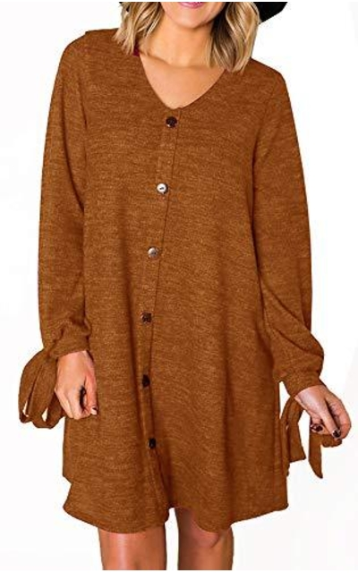 FANEW Button Sweater Dress Tunic Tops