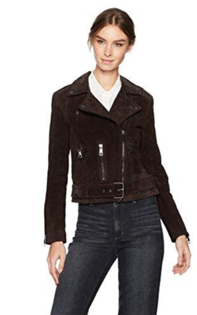 Bagatelle Suede Belted Biker Jacket