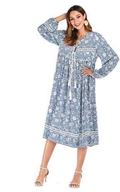 R.YIposha Floral Print Bohemian Midi Dress