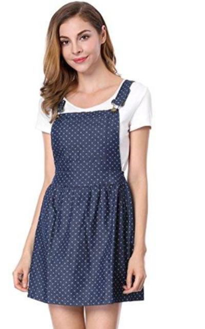 Allegra K Dot Pattern Denim Overall Dress