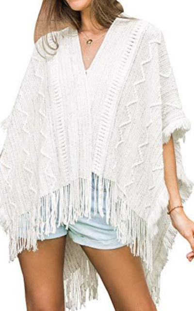 CUPSHE Blanket White Tassel Trim Crochet Cover Up