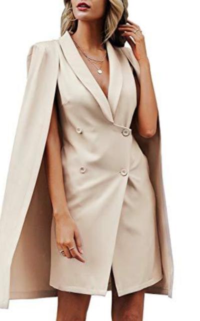 Sollinarry Lapel Collar Mini Dress Cape