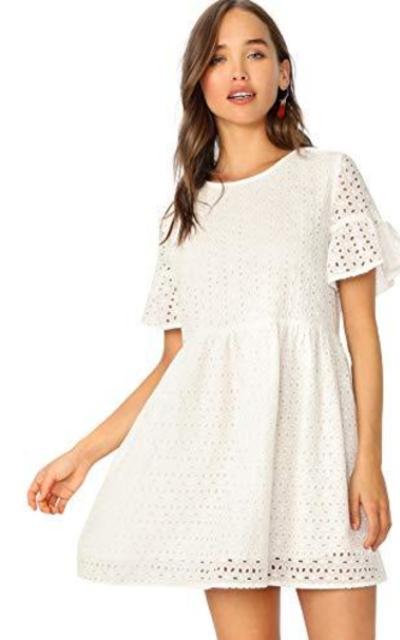 Floerns Eyelete Tunic Babydoll Dress
