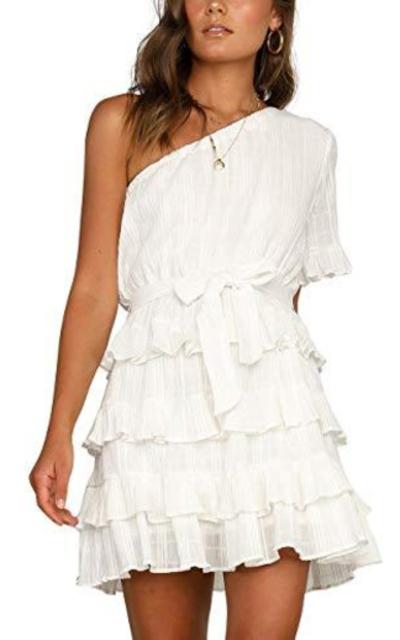 Hellozebra Chiffon Off One Shoulder Ruffle Mini Dress
