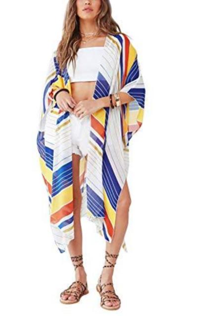 Striped Sheer Kimono Cardigans Shawl