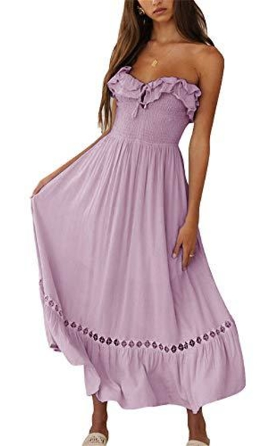 BOCOTUBE Strapless Ruffle Off The Shoulder Dress
