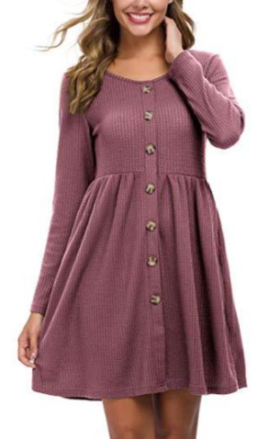 LONGYUAN Waffle Knit Button Down Dress with Pockets