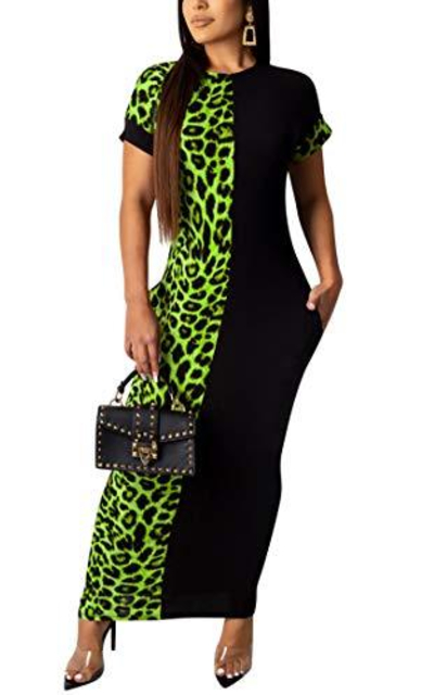 Salimdy Color Block Leopard Maxi Dress