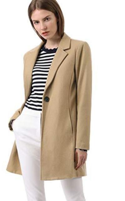 Allegra K Notched Lapel Coat