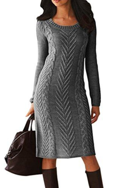 Dearlove Cable Knit Pullover Sweater Midi Dress