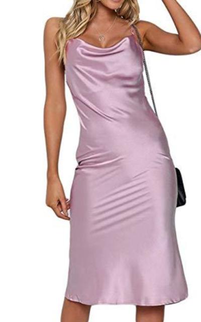 Silky Satin Cowl Neck Slip Midi Dress