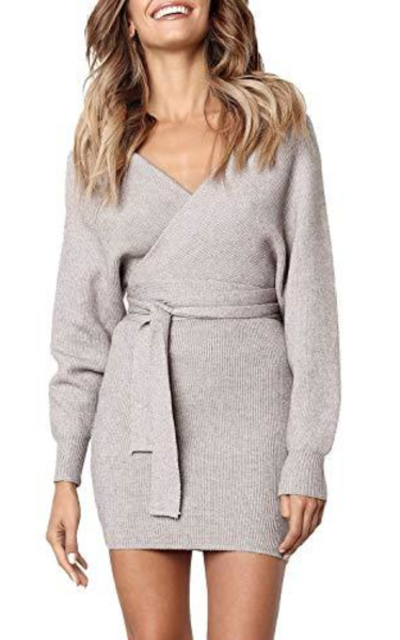 Huaxiafan Wrap Belted Batwing Sweater Dress