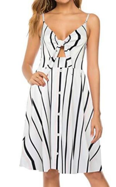 FANCYINN Tie Front Summer Midi Sun Dress