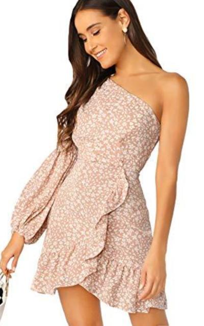Verdusa One Shoulder Floral Print Mini Dress