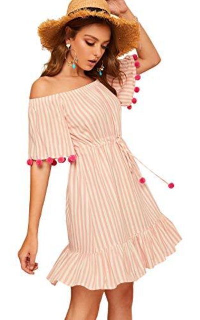 Floerns Striped Off Shoulder Drawstring Waist Pom Pom Tunic Dress