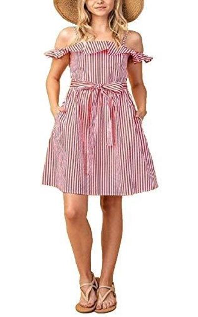 Red & White Pinstripe Ruffle Dress