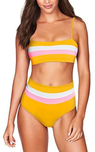 COCOLEGGINGS Striped Bandeau High Waist Bikini Set