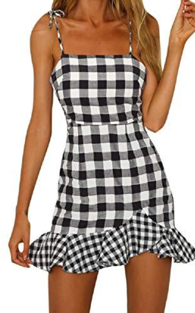 Wintialy Gingham Sleeveless Mini Dress