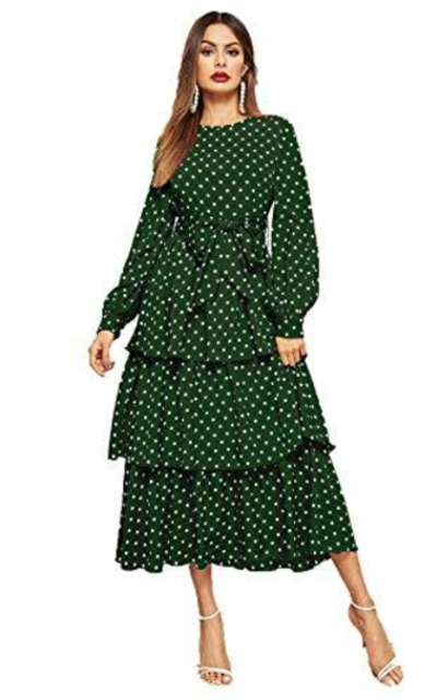 ROMWE  Polka Dot Midi Dress