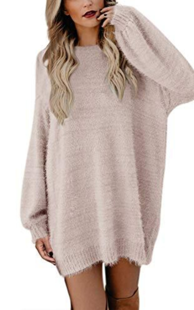 Meenew Loose Pullover Sweater Dress with Pockets