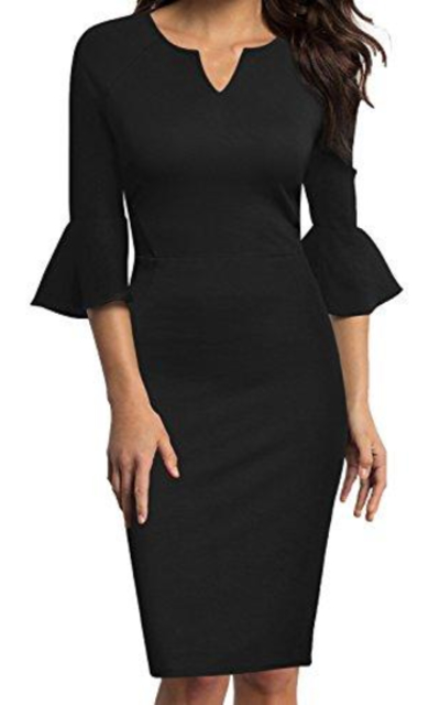 WOOSUNZE Flounce Bell Sleeve Office  Pencil Dress