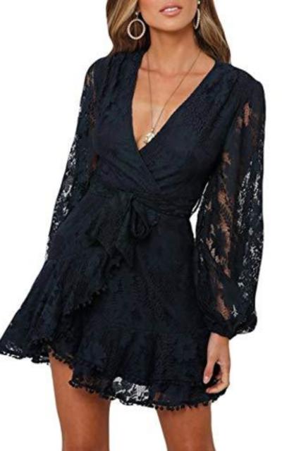Lace Faux Wrap Mini Dress