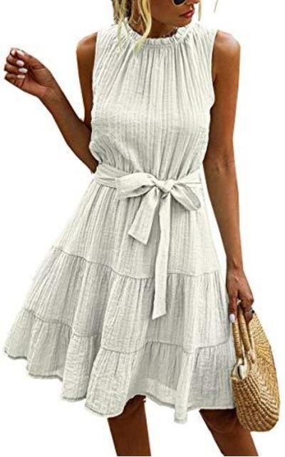 Angashion Babydoll Mini Swing Dress