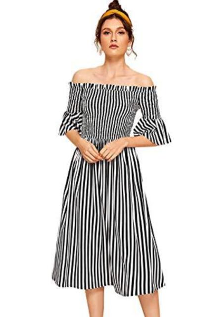 Verdusa Off Shoulder Shirred Flounce Dress
