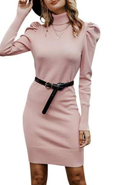 MsLure Turtleneck Puff Sleeve Mini Dress